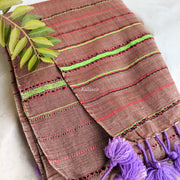Casual Kutchi Cotton Stole in Light Redwood Colour| With lovely Orchid Tassels