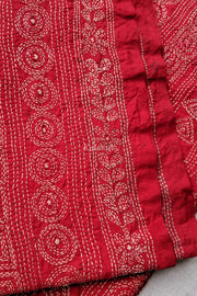 Closer look at the Tussar Silk Kantha Hand-embroidered Dupatta