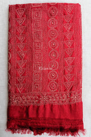 Folded view of Red colored Kantha Dupatta