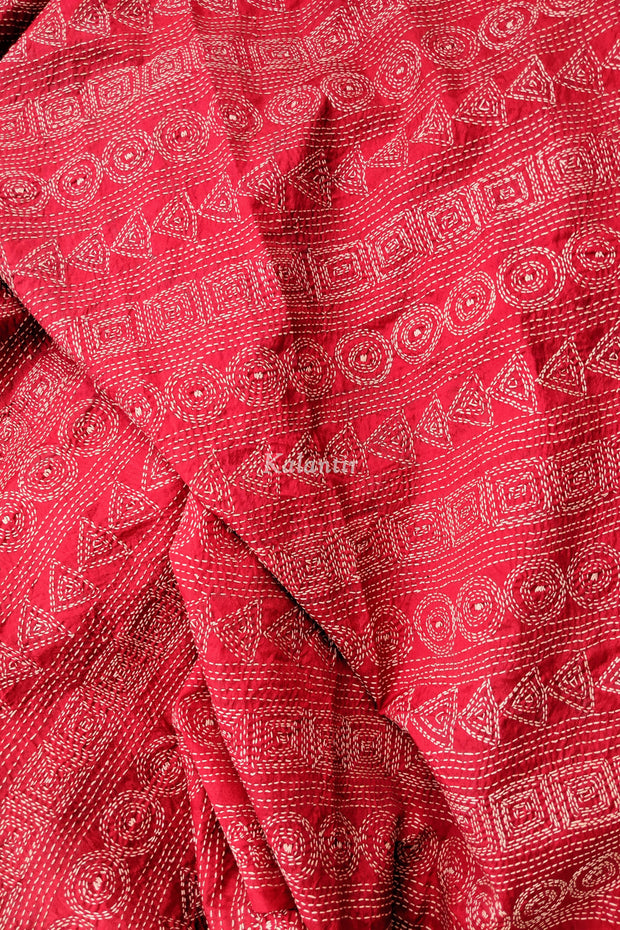 Closer look at the hand-embroidered Kantha Dupatta