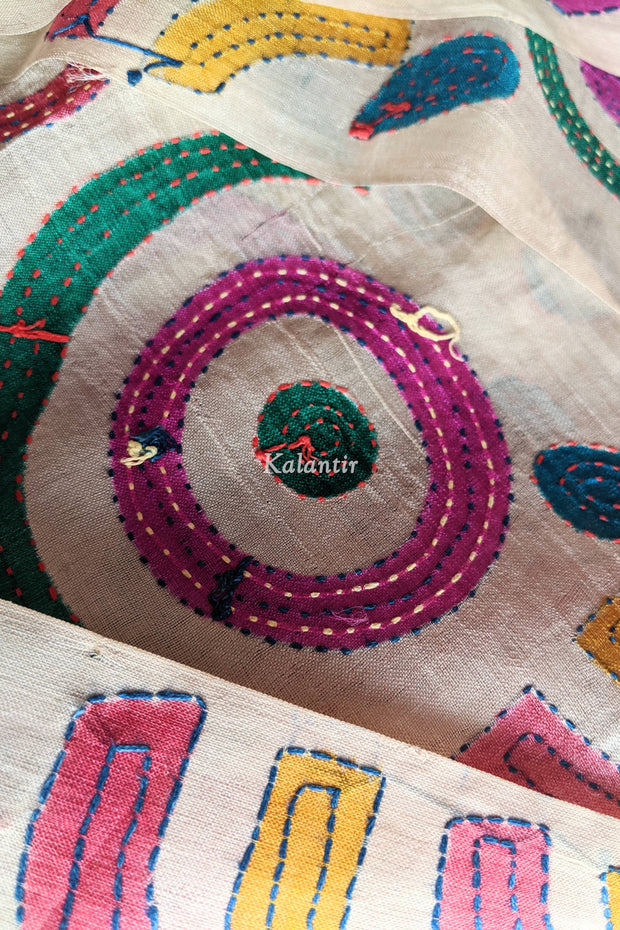 Closer view of the hand-embroidery on the Kantha Kurta Fabric