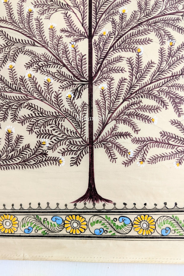 Closer look at the tree base in this beautiful Tree of life Saura Painting