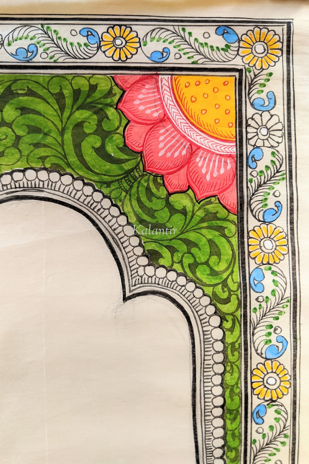 Closer view of the floral motifs in the border of this Saura Art form