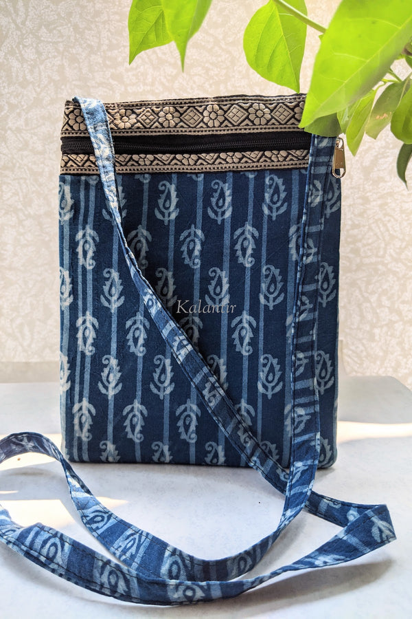 Casual Block Printed Indigo Blue Colored Sling Bag