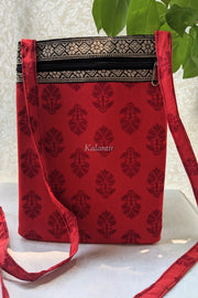 Casual Block Printed Red Colored Sling Bag