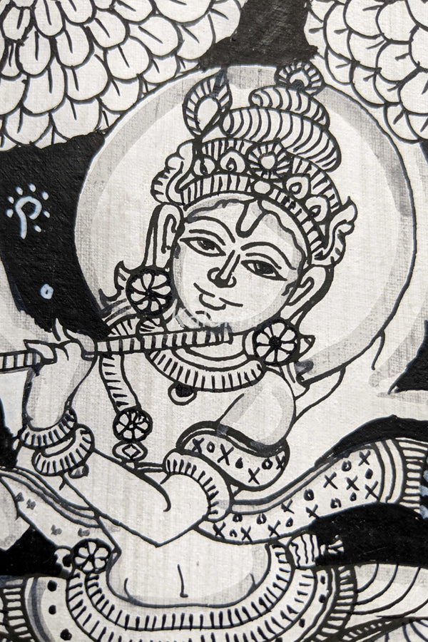 Closer view of Krishna in this beautiful Pattachitra Painting