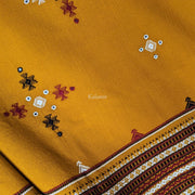 Mustard Yellow Colored Handmade Woollen Kutchi Shawl with Beautiful Embroidery