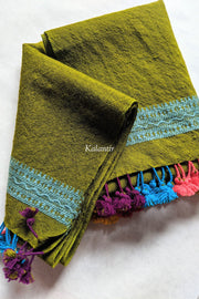 Olive Green Pure Wool Authentic Kutchi Stole with Multicolored Tassels