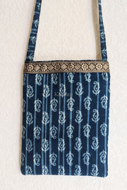 Block Printed Indigo Colored Sling Bag