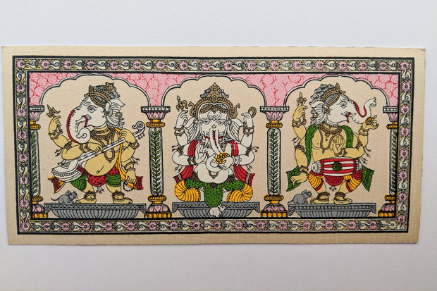 Full view of Singing & Dancing Ganesha Pattachitra Painting