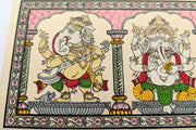 From left to right: Closer view of Lord Ganesha playing Sitar & in Abhay mudra in this beautiful Pattachitra painting