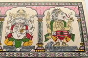 From left to right: Closer view of Lord Ganesha in Abhay mudra & playing Mridanga in this beautiful Pattachitra painting