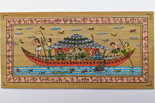 Full view of Fishing Pattachitra Painting on Palm Leaf from Odisha