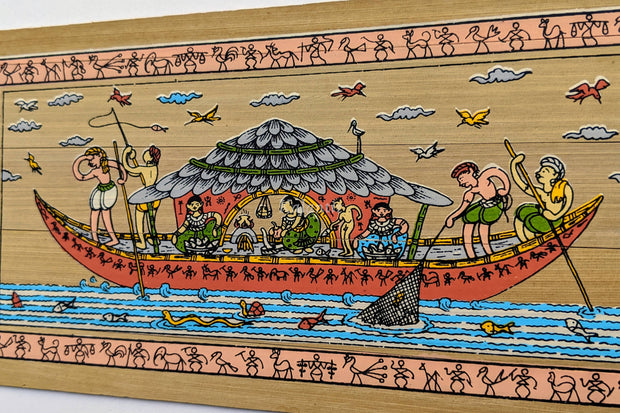 Closer view of Fishing Pattachitra Painting on Palm Leaf from Odisha