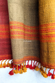 Multicoloured Pure Wool Authentic Kutchi Stole | Red, Yellow & Light Brown | With lovely Tassels