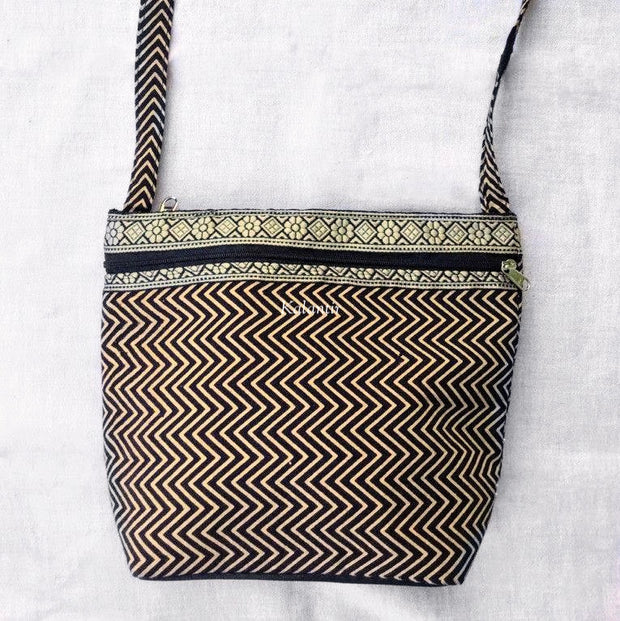 Closer view of Zigzag Block Printed Black Colored Sling Bag