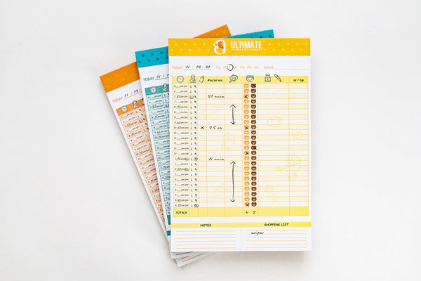 Ultimate Baby Tracker Notepad™ (Teal, Orange + Yellow 3-Pack)