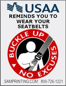 usaa insurance vehicle buckle your seal belt reminder window sticker