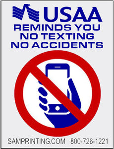 USAA insurance no cell phone no texting reminder vehicle window sticker