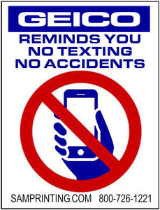 Geico insurance no cell phone no texting reminder vehicle window sticker