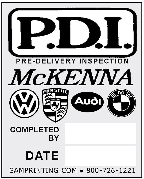 pre-delivery inspection service reminder vehicle window sticker