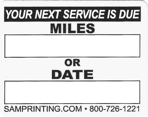 miles date lube oil filter service reminder vehicle window sticker