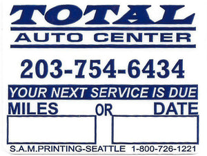 total auto lube oil filter service reminder vehicle window sticker