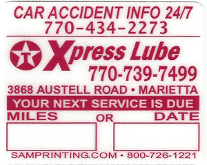 express lube oil filter service reminder vehicle window sticker