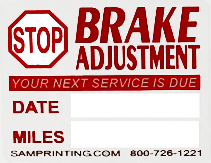 vehicle break service reminder window sticker