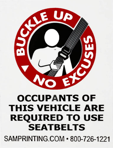 buckle-up seat belts safety reminder vehicle window sticker