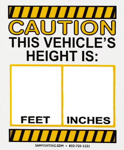 vehicle height safety check service reminder window stickers