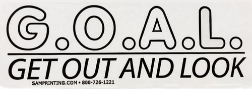 get out and look G.O.A.L. safety reminder vehicle window sticker