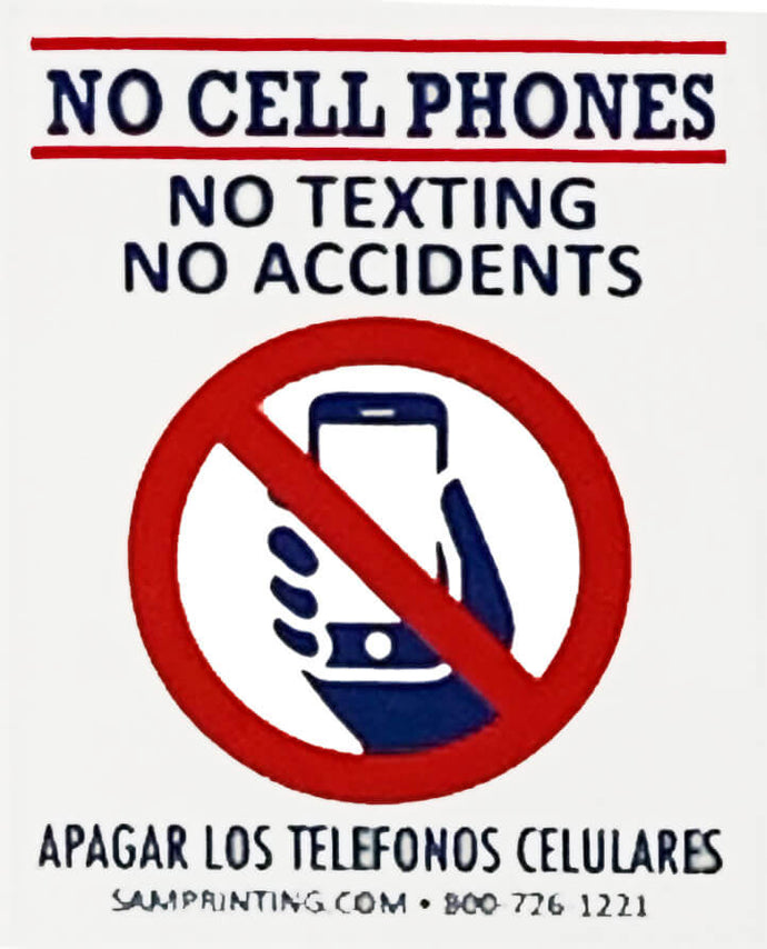 no cell phones no texting safety reminder vehicle window sticker