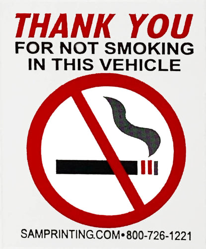 no smoking safety reminder vehicle window sticker
