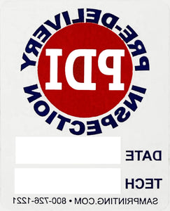 generic pre-delivery inspection service reminder vehicle window sticker