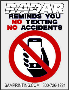 Radar no cell phone no texting reminder vehicle window sticker
