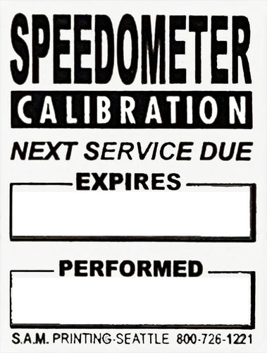 generic speedometer calibration safety check vehicle service reminder window stickers
