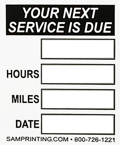 miles date hours lube oil filter service reminder vehicle window sticker