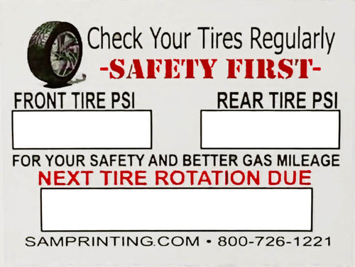 tire p.s.i. safety and rotation check vehicle service reminder window stickers