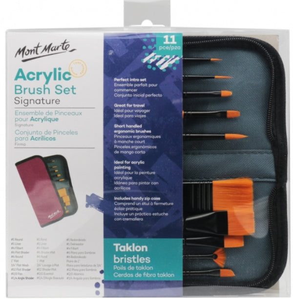 Signature Taklon Brush Set in Wallet 11pce - Acrylic