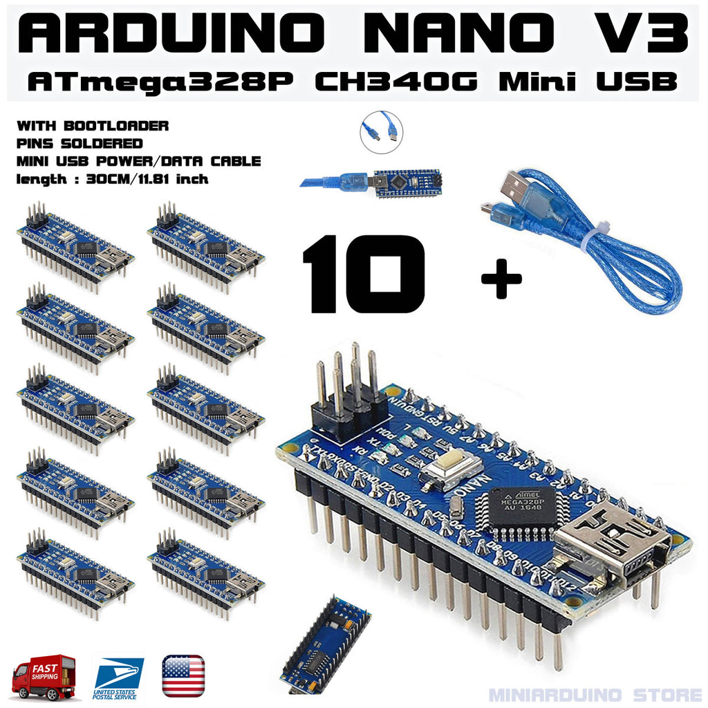 10 x Arduino Nano V3.0 pins soldered ATmega328p 5V CH340G + 1 Mini USB Cable - arduino - Business & Industrial:Electrical Equipment & Supplies:Electronic Components & Semiconductors:Other Electronic Components