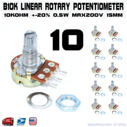 10pcs B10K 10K OHM Linear Taper Rotary Potentiometer 15mm Taper Pot - arduino - resistors