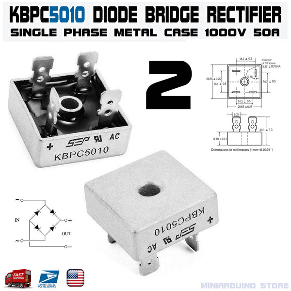 2pcs KBPC5010 Diode Bridge Rectifier Single Phase Metal Case 1000V 50A - arduino - Business & Industrial:Electrical Equipment & Supplies:Electronic Components & Semiconductors:Semiconductors & Actives:Diodes:Other Diodes