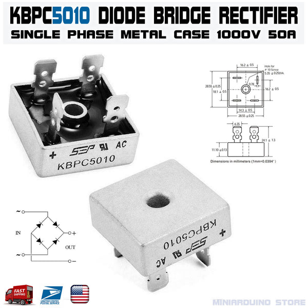 KBPC5010 Diode Bridge Rectifier Single Phase Metal Case 1000V 50A - arduino - Business & Industrial:Electrical Equipment & Supplies:Electronic Components & Semiconductors:Semiconductors & Actives:Diodes:Other Diodes