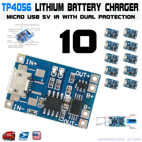 10pcs TP4056 Micro USB 5V 1A 18650 Lithium Battery Charging Dual Protection DW01A - arduino - Business & Industrial:Electrical Equipment & Supplies:Electronic Components & Semiconductors:Semiconductors & Actives:Power Regulators & Converters