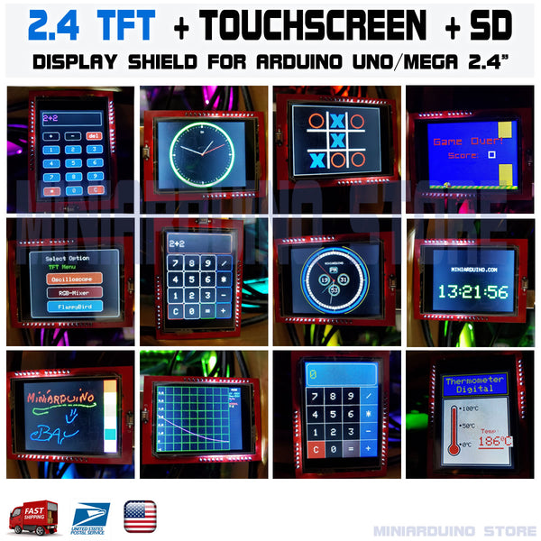 2.4 TFT LCD Display Shield ID 0x9341 Touch Panel Screen Arduino UNO MEGA SD Card - arduino - Business & Industrial:Electrical Equipment & Supplies:Electronic Components & Semiconductors:LEDs, LCDs & Display Modules:LCD Display Modules