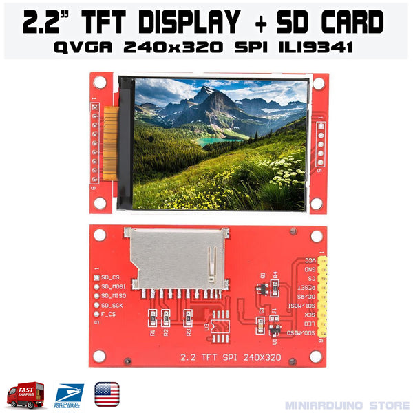 "2.2"" Serial ILI9341 SPI TFT LCD Display Module 240x320 Chip PCB Adapter SD Card - arduino - Business & Industrial:Electrical Equipment & Supplies:Electronic Components & Semiconductors:LEDs, LCDs & Display Modules:LCD Display Modules"
