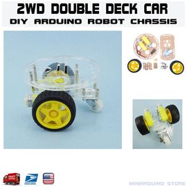2WD Double Deck Smart Car Robot Chassis Kit Arduino MCU tracing DIY - arduino - Business & Industrial:Automation, Motors & Drives:Industrial Robotic Arms