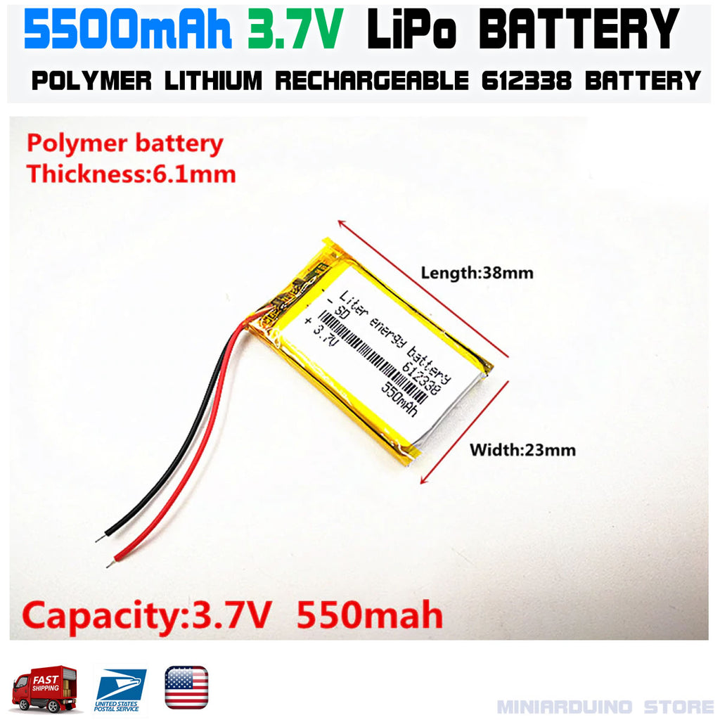 3.7V 550mAh 612338 lithium polymer lipo rechargeable battery - arduino - Consumer Electronics:Multipurpose Batteries & Power:Rechargeable Batteries