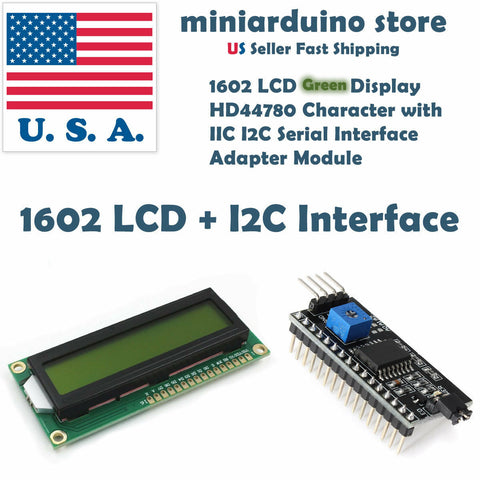 1602 LCD Green 16x2 HD44780 with IIC I2C Serial Interface Adapter Module Display - arduino - Business & Industrial:Electrical Equipment & Supplies:Electronic Components & Semiconductors:LEDs, LCDs & Display Modules:LCD Display Modules